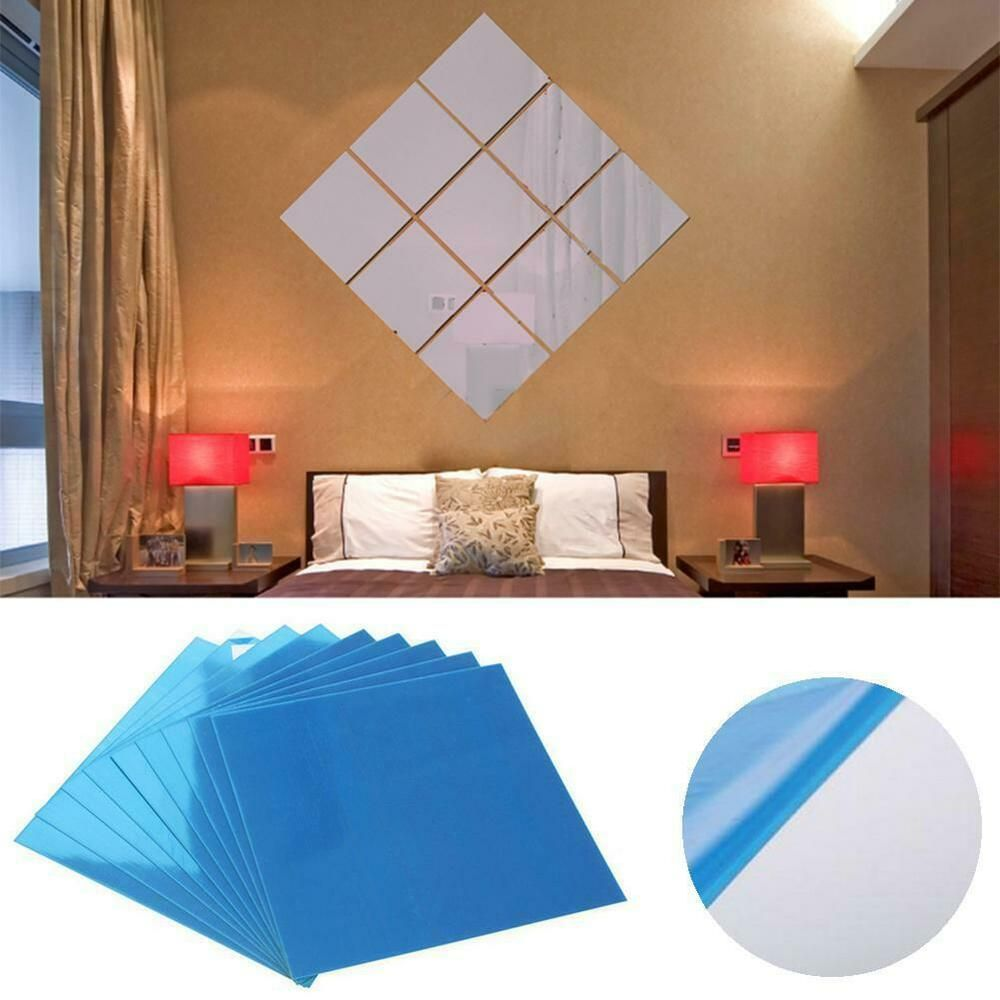 16PCS Mirror Tile Wall Sticker Square Self Adhesive Room Decor Stick Art Home