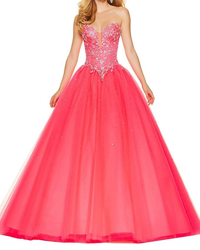 XJLY Gorgeous Beaded Sweetheart Tulle Ball Gown Prom Dress Quinceanera Gowns ** Buy now: http://amzn.to/2jnGvUf