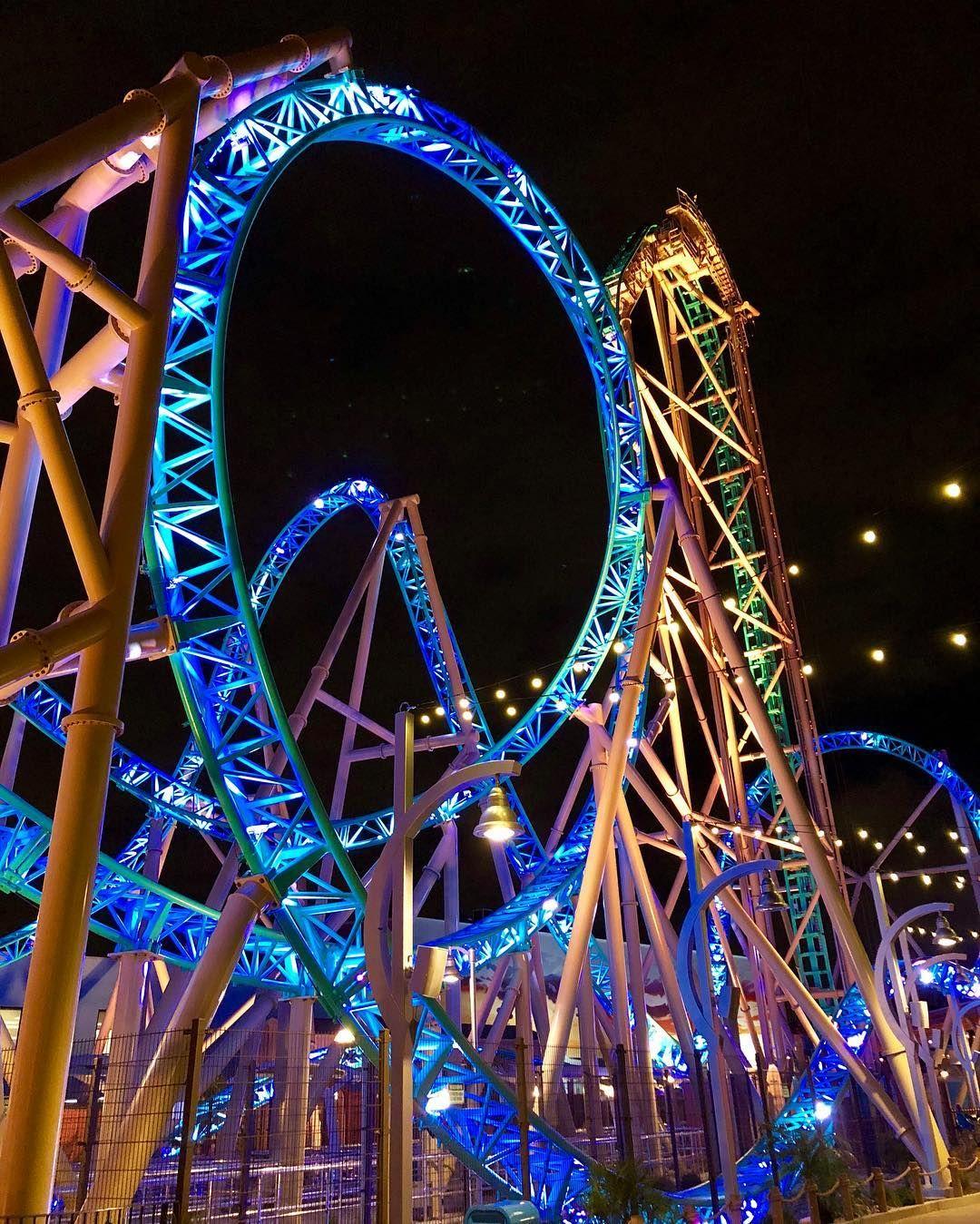 Обои Rollercoaster ride, ночь. Города foto 10