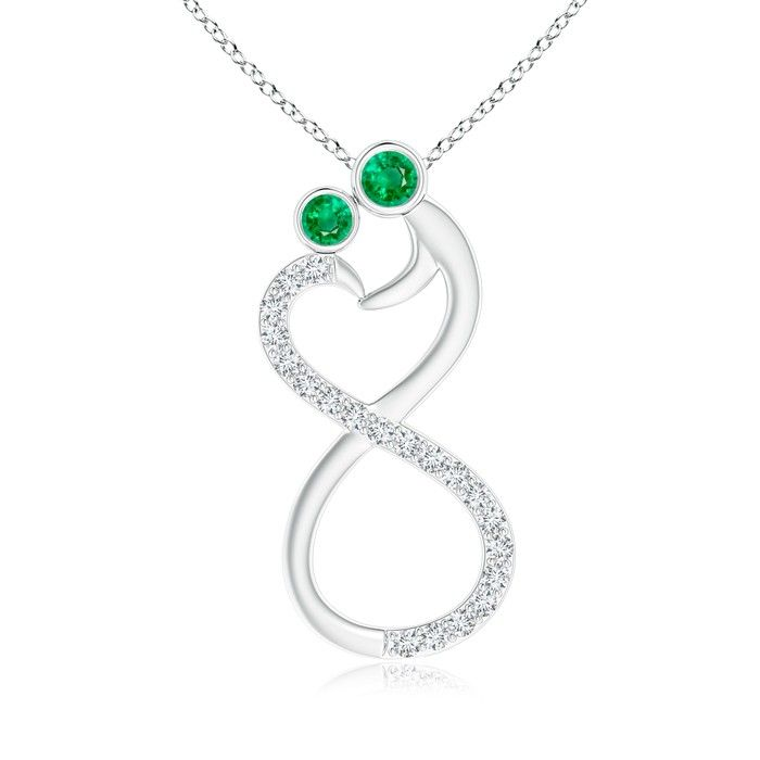 Angara Natural Emerald Diamond Halo Pendant in Platinum tcogD