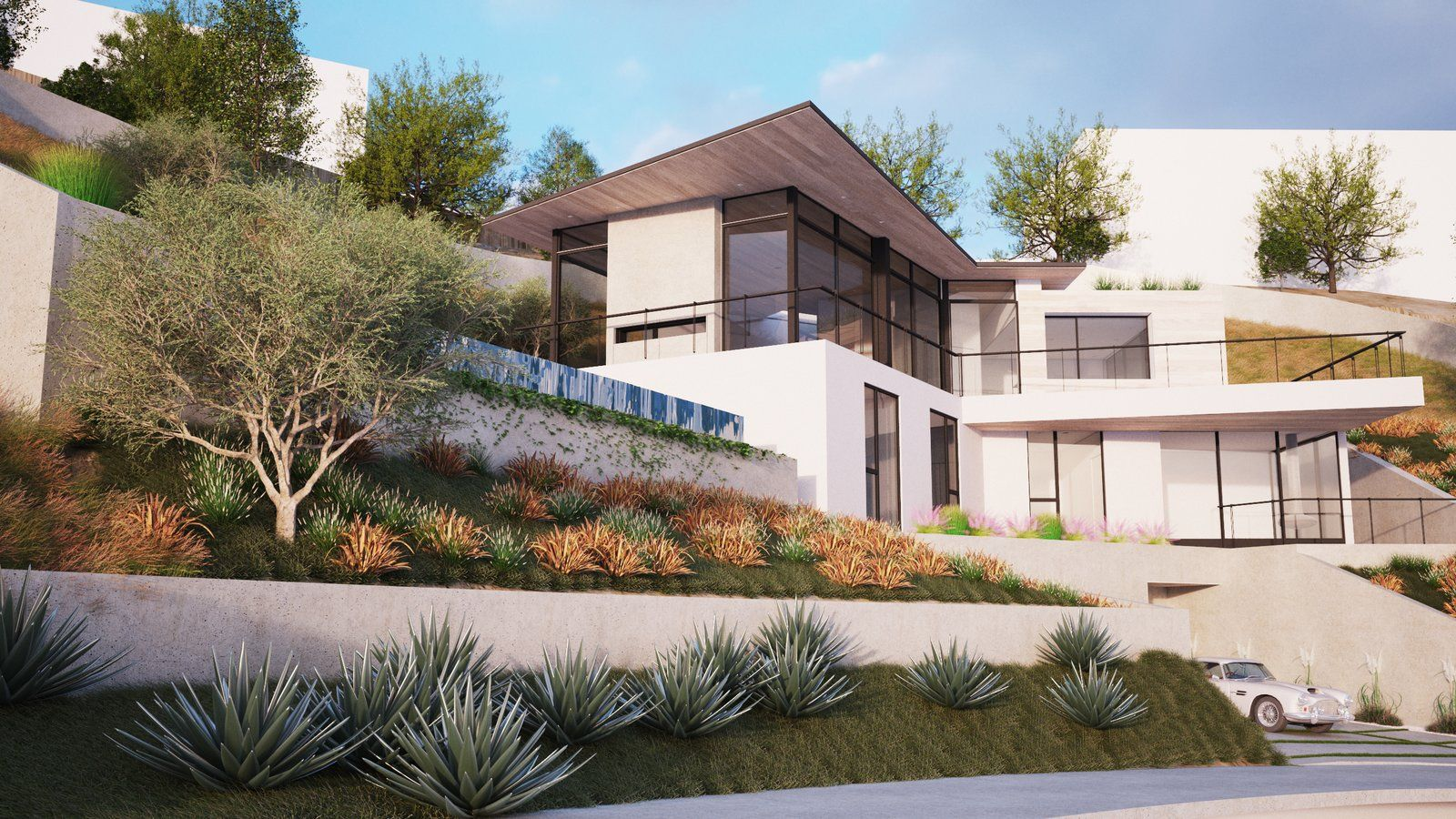 Modern home with Exterior, House, Stucco Siding Material
