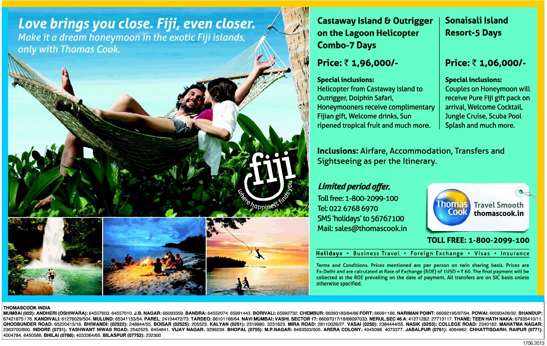 Thomas Cook Enjoy 7d In Fiji At Rs 1 96 000 Castaway Island