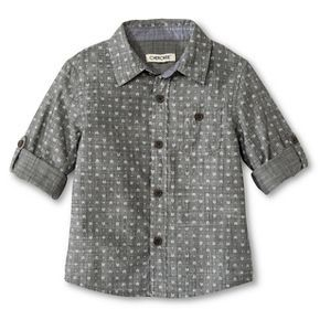 Toddler Boys' Button Down Shirt Gray - Cherokee®