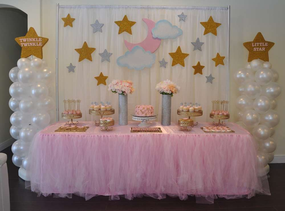 Twinkle twinkle little star baby shower party ideas star for Baby shower decoration ideas for girl