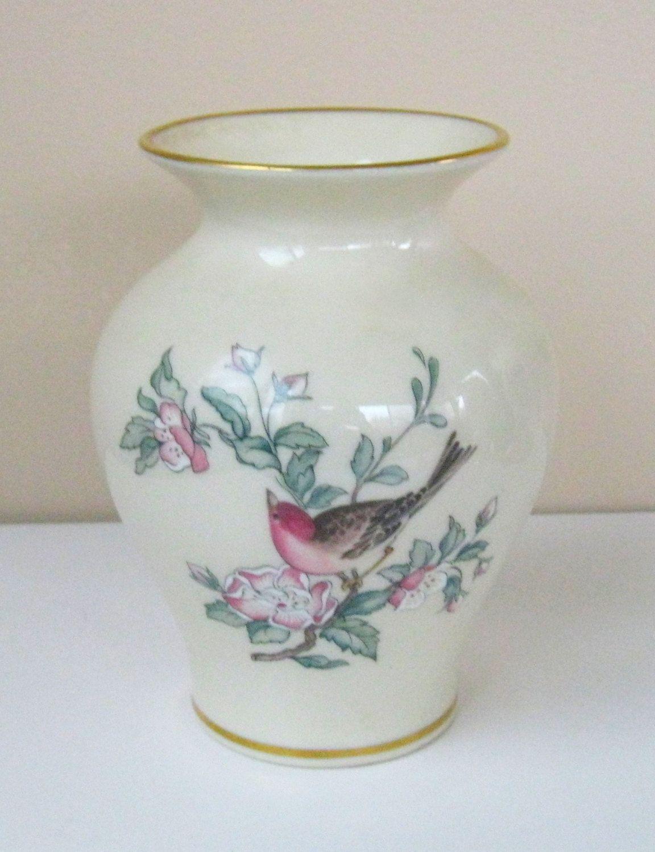 Lenox serenade etsy vintage lenox serenade floral bird gold rim vase inches tall by pastimejewels on etsy reviewsmspy