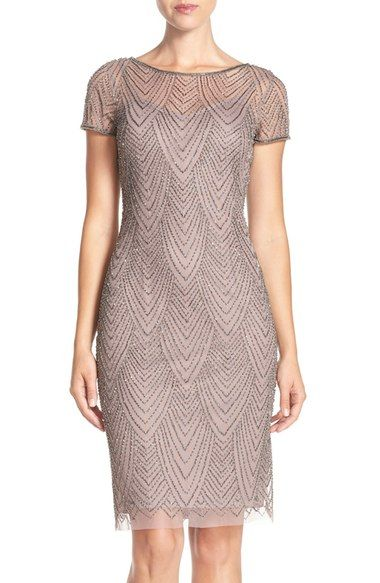 Adrianna Papell Beaded Mesh Sheath Dress available at #Nordstrom