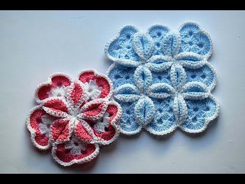 Crochet, cuadrado o bloque vidriera para colcha o manta #patron ...