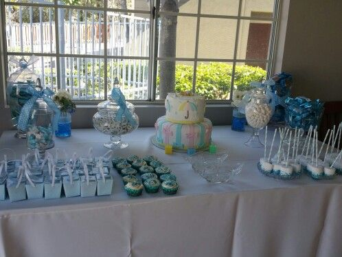 Candy buffet for baby boy shower