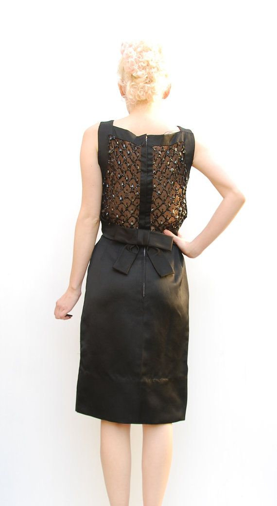 60s Party Dress  Little Black Dress  Beaded by PomPomClothing, $229.00