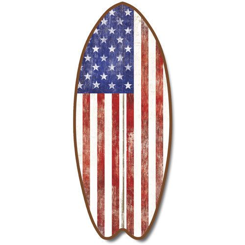 Americana Wall Decor Plaques Signs Inspiration New Wood Surfboard Plaque American Flag Wall Art Us Sign Coastal Decorating Inspiration