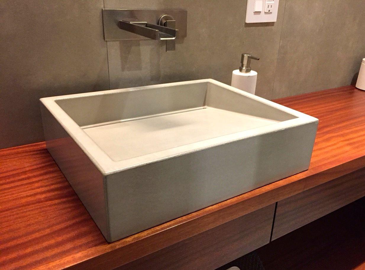 Concrete Sink Handmade Concrete Vessel Sink with Slot Drain
