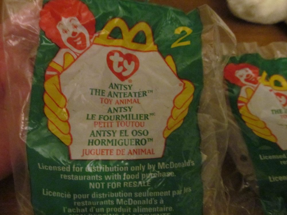 be715cf8477 NEW 1999 McDonalds TY TEENIE BEANIE BABY  2 ANTZY Anteater