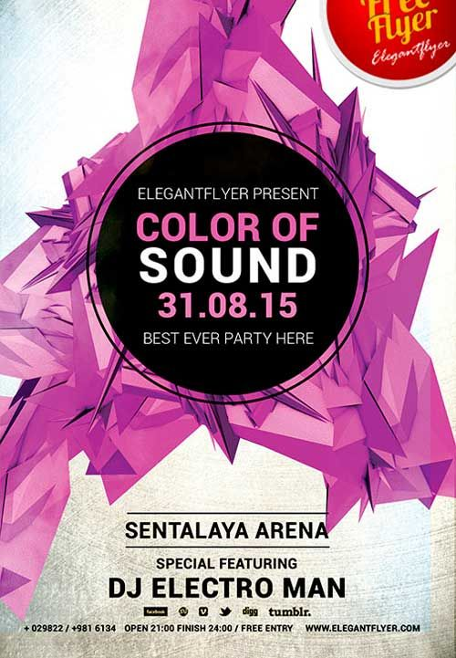 Free Color Of Sound PSD Flyer Template - http\/\/freepsdflyer - electro flyer