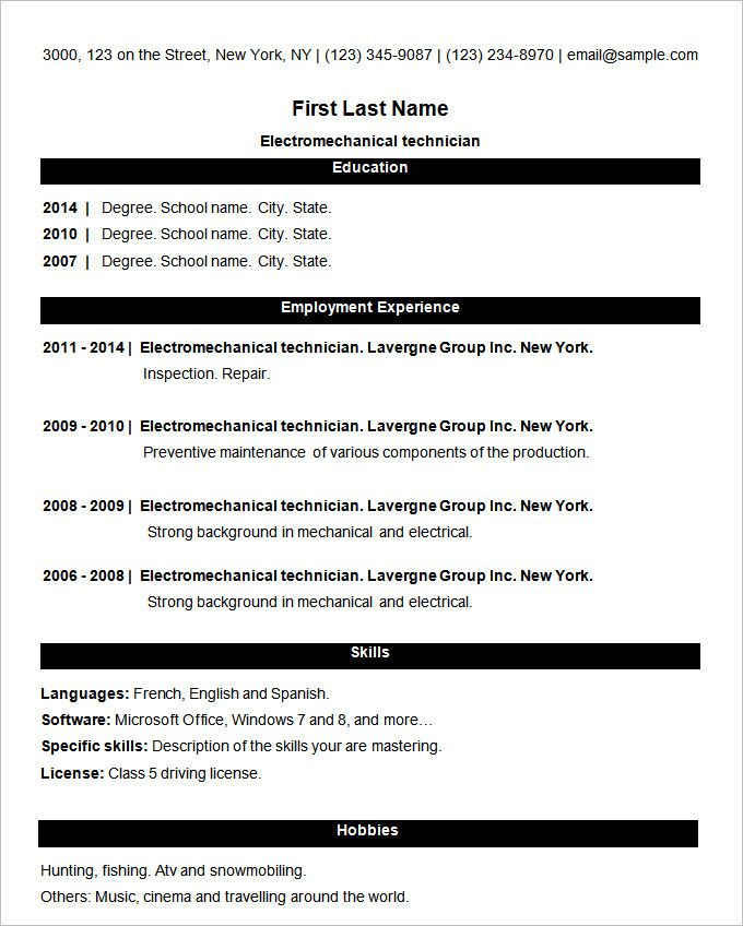 simple resume format pdf file download