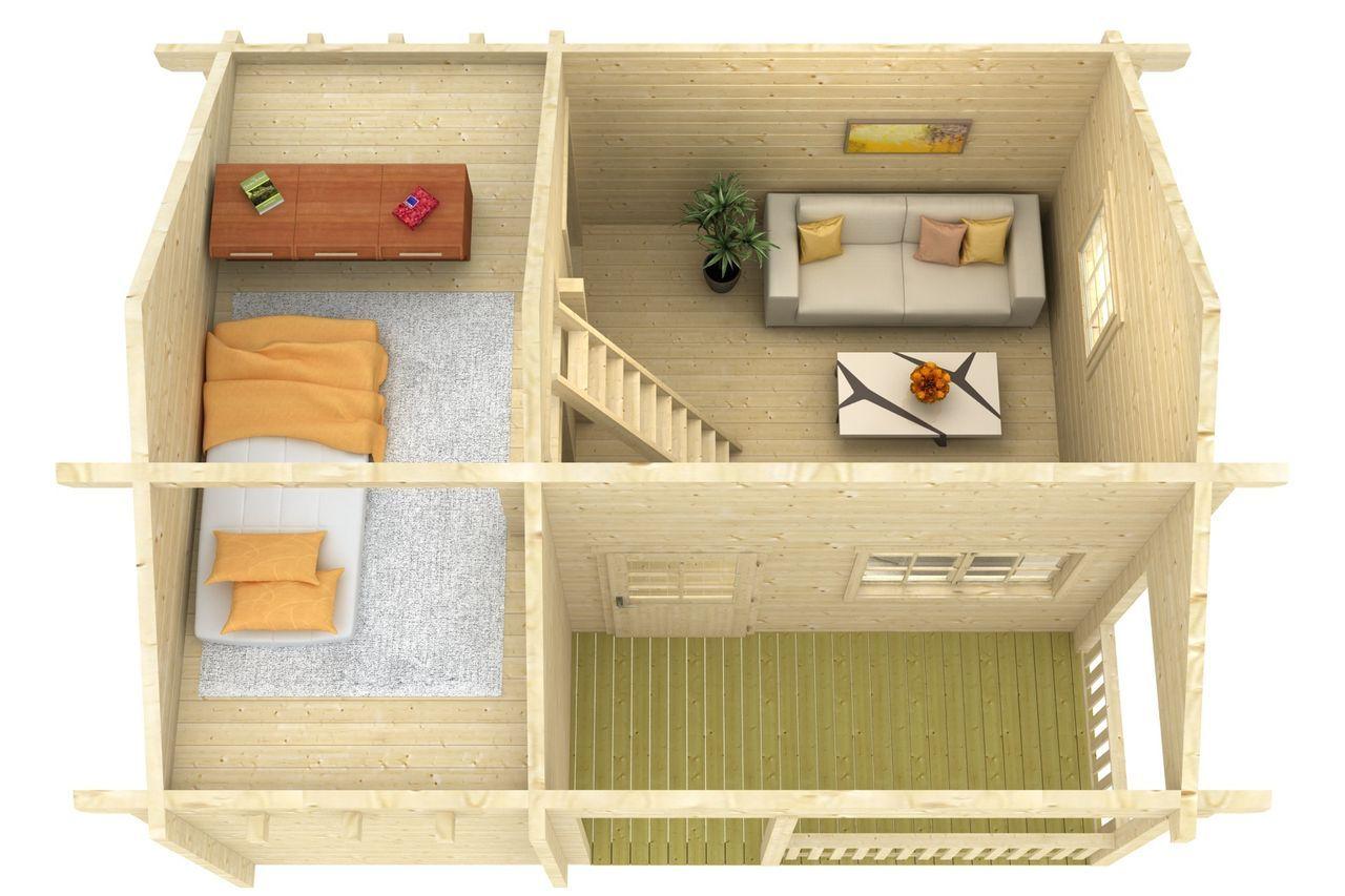 Gartenund Freizeithaus Bonn90 Premium Kleine veranda