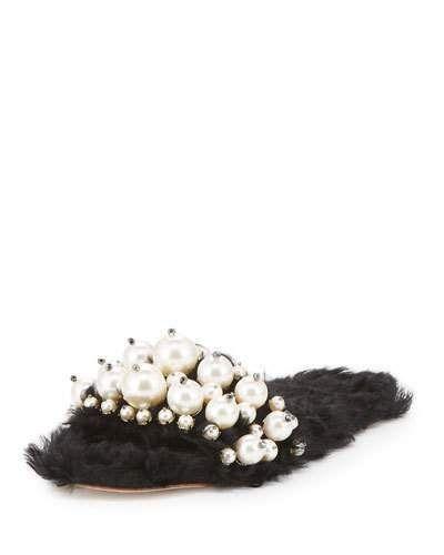 Miu Miu Modifica Struttura Pearly Slide Sandal, Black