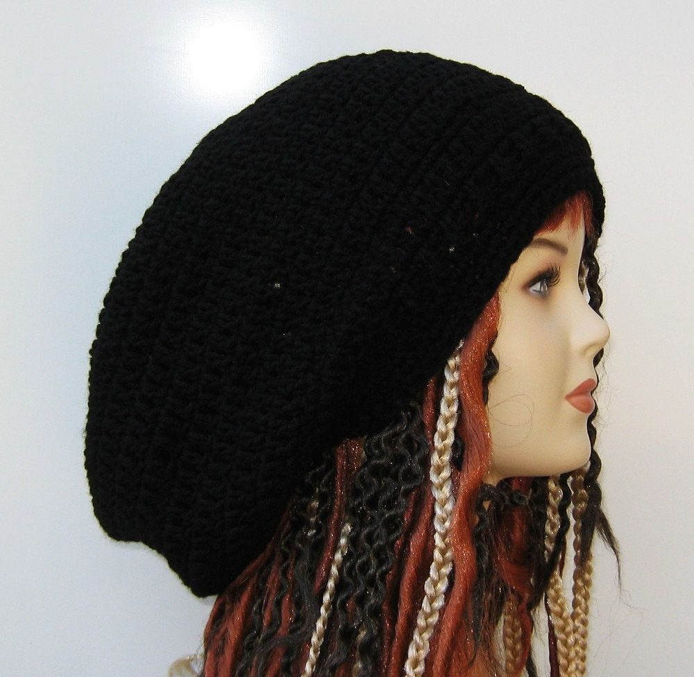 cf3f6e7395a Black Wide Crown Slouchy large Tam Dreadlock Hippie Beanie Dread Hat ...
