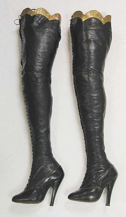 "Maniatis Boots - 1900-20s - Leather, cotton - Marking: ""Maniatis/Bottier/36 rue de Belle Ford/Paris (9e)/Tel. Taudine 43-57"" - Metropolitan Museum of Art - @~ Watsonette"