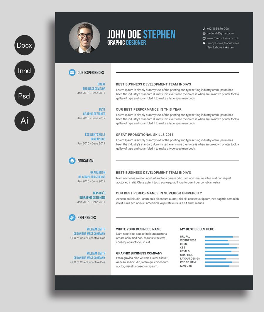 Free Ms.Word Resume and CV Template | Collateral Design | Pinterest ...