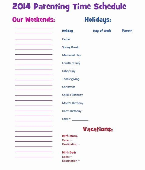 Custody Holiday Schedule Template Awesome Parenting Time