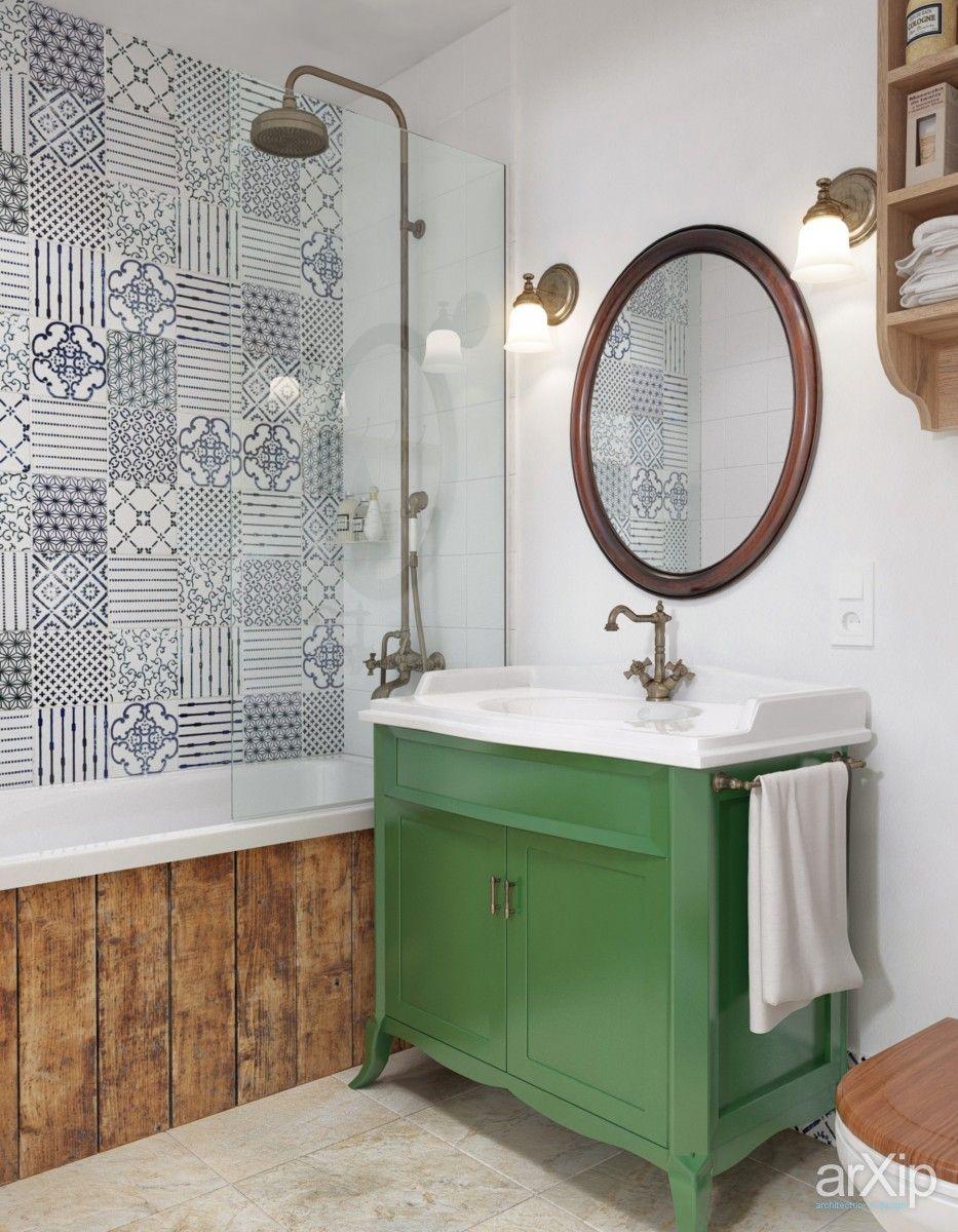 Загородный уют в городской квартире (ванная) интерьер, назначение - квартира, дом | тип - санузел, ванная, туалет | площадь - 0 - 10 м2 | стиль - кантри. Разместил INT2architecture на портале arXip.com