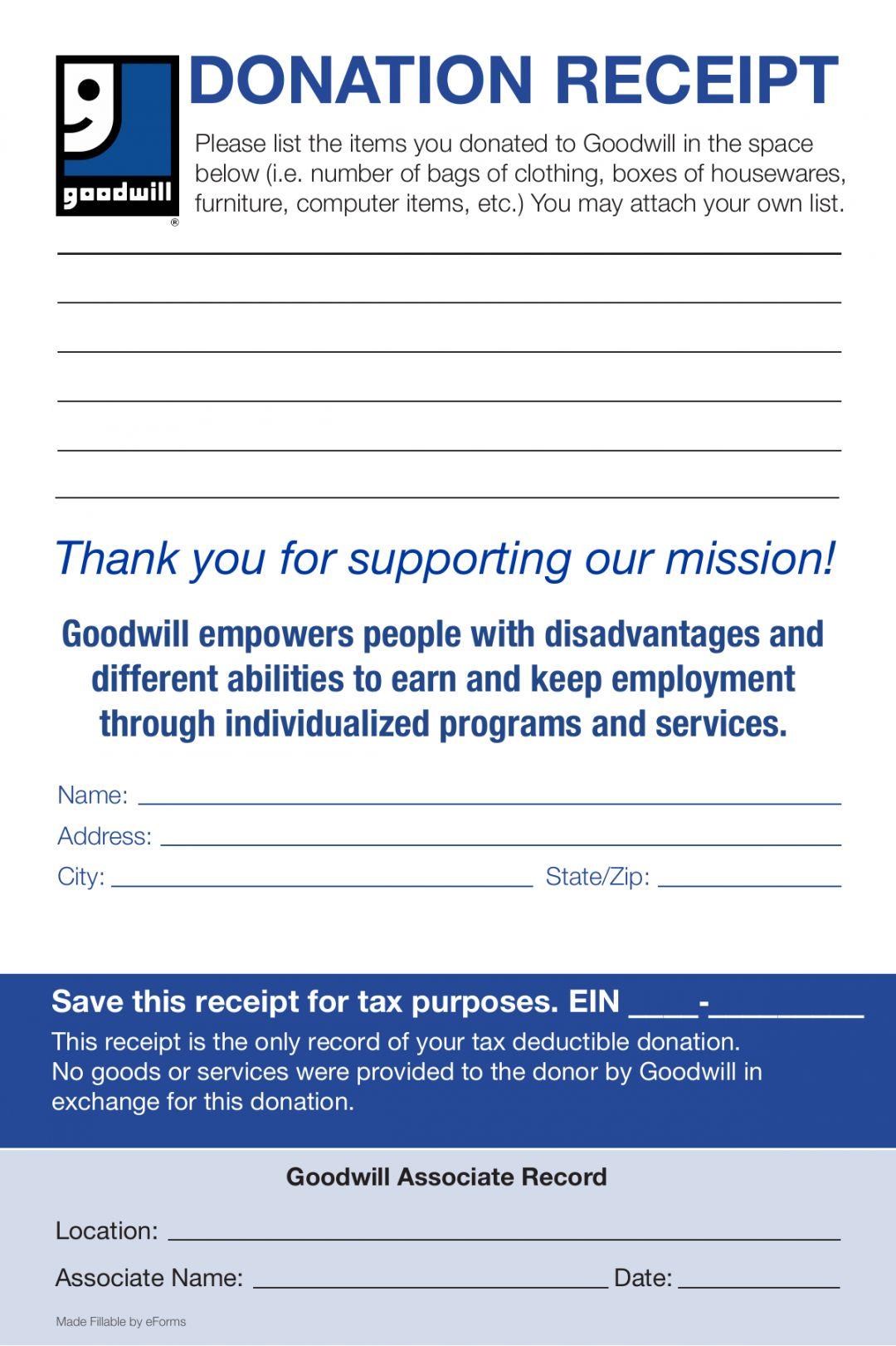 Explore Our Example Of Thrift Store Donation Receipt Template Receipt Template Goodwill Donations Donation Form