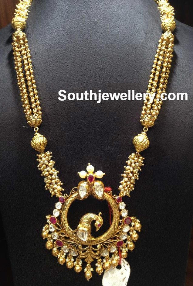 Antique Gold Long Chain With Peacock Pendant Pendant