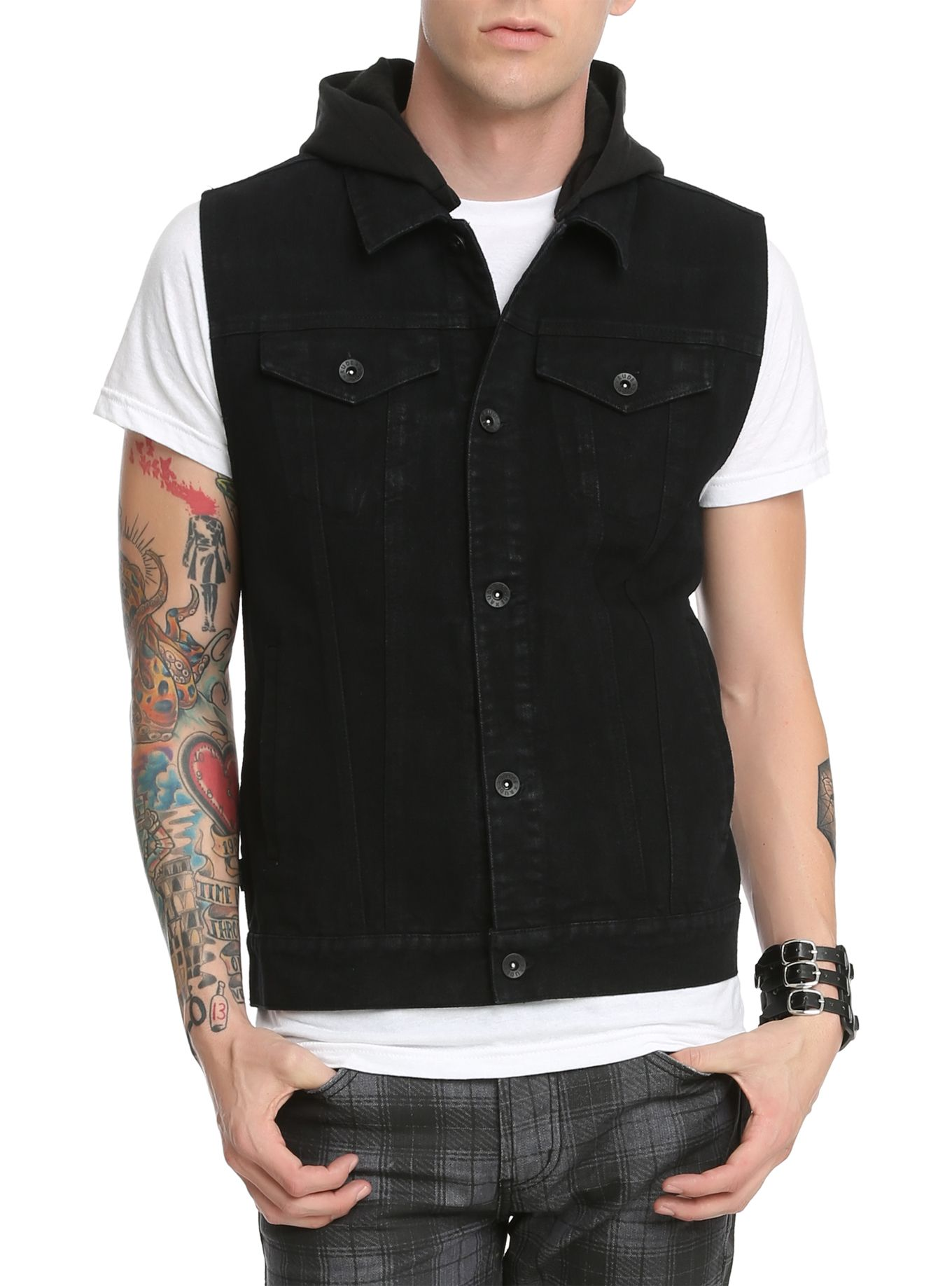 RUDE Black Denim Hooded Vest  fb04cfa91b6