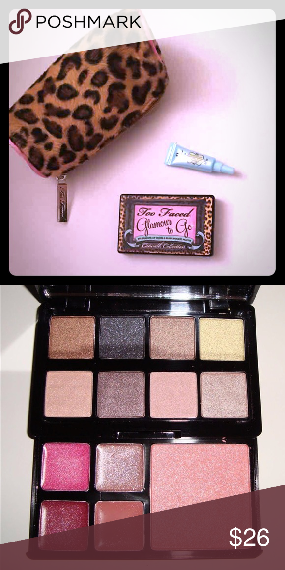 NWT••TOO FACED GLAMOUR TO GO••CATWALK EDITION New. Bundle includes TOOFACED leopard print cosmetic bag and mini shadow insurance. All products new and unused. GREAT all in one toss in your bag eyeshadow, blush and gloss compact palette!!! My personal favorite of the glamour to go line!!! Always authentic. Too Faced Makeup