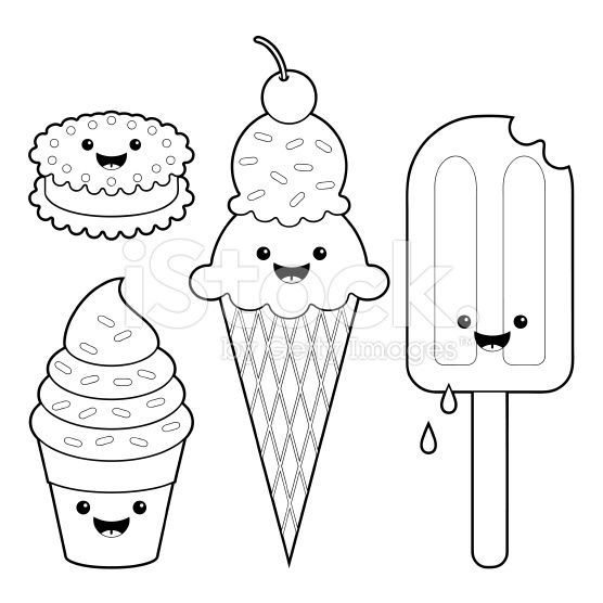 Ice cream fun kawaii coloring set royalty,free stock vector art