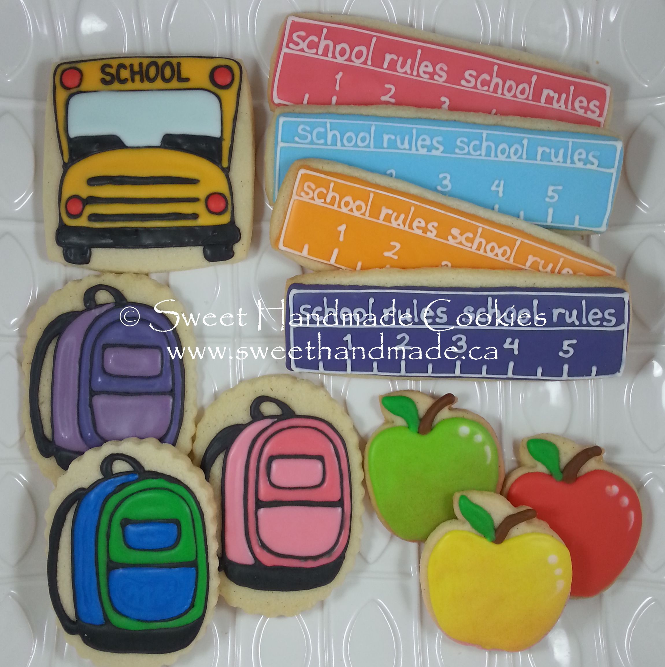 Sweet Handmade Cookies - back-to-school school bus backpack ruler apple cookies