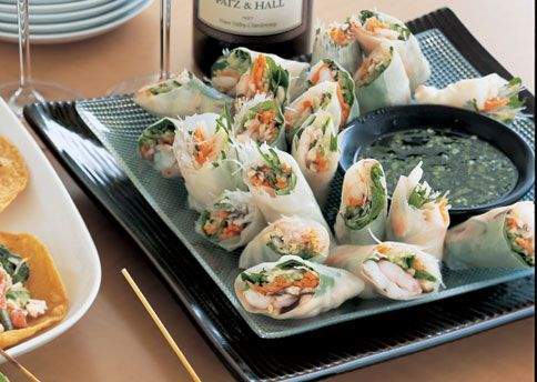 Shrimp Rice-Paper Rolls with Vietnamese Dipping Sauce:   Sweet, salty, and spicy, nuoc cham is the indispensable sauce of Vietnam's cuisine. It's a favorite dipping sauce for spring rolls and for fresh rice-paper rolls such as these.