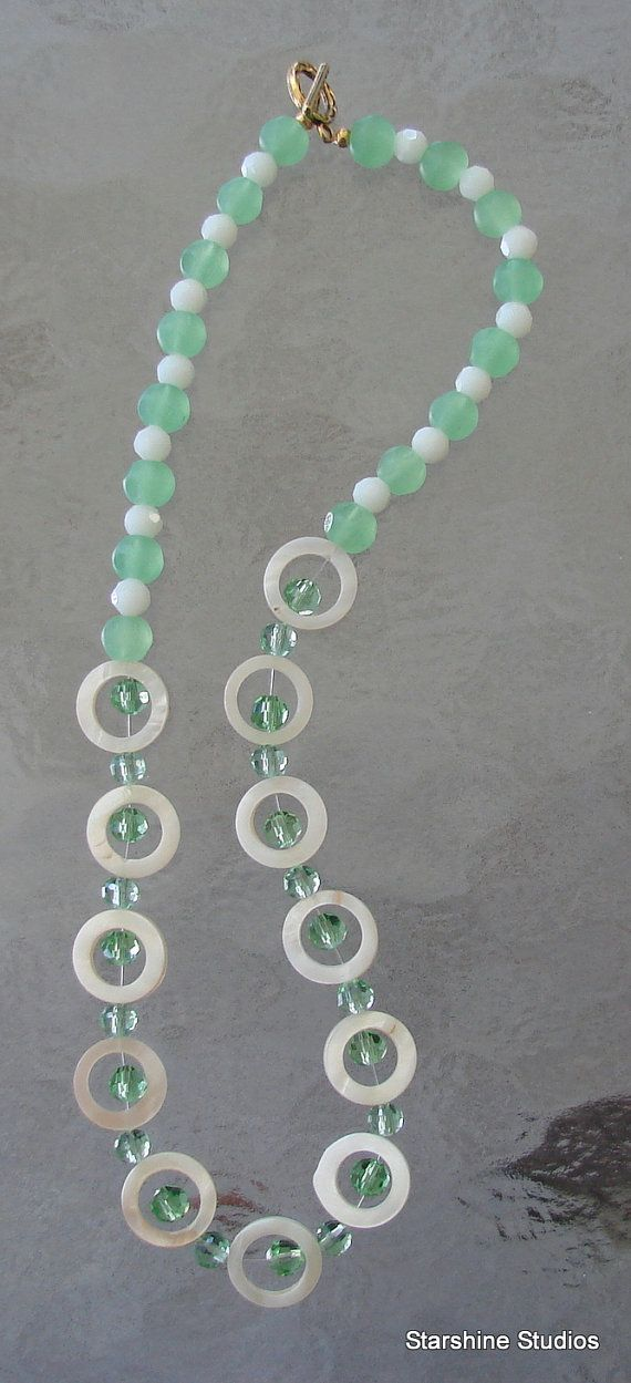 """17"""" beaded necklace. Swarovski crystals, abalone & faceted glass."""