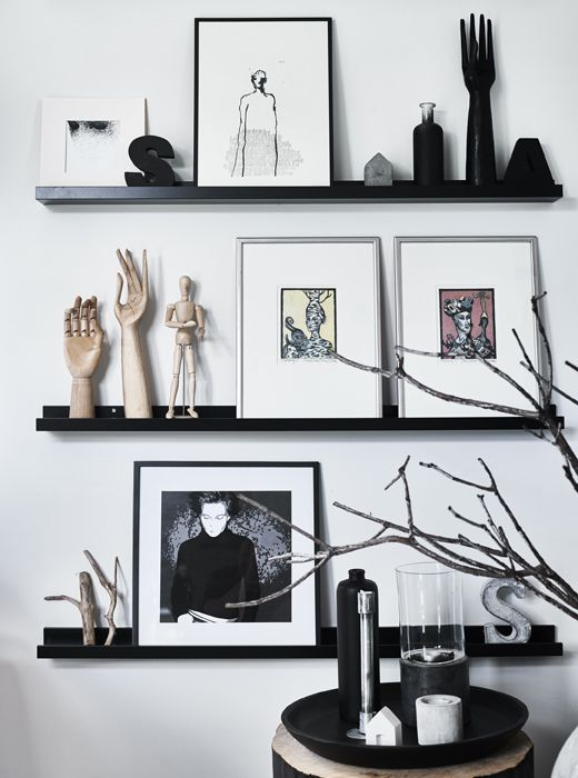 Artwork and objects displayed on picture rails for only at ikea needs to be curated well - Mensole a muro ikea ...