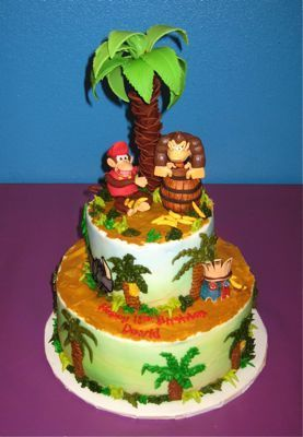 Phenomenal Donkey Kong Cake With Images Party Cakes Donkey Kong Party Funny Birthday Cards Online Amentibdeldamsfinfo