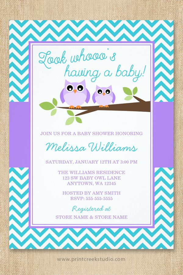 Cute Purple And Teal Owl Girl Baby Shower Invitations. Design Features A  Mother And Baby