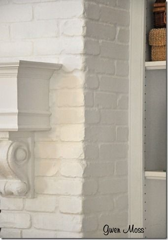 Gwen Moss Before And After My White Chalk Painted Fireplace Painting Brick Interior White Brick Fireplace Painted Brick Fireplaces