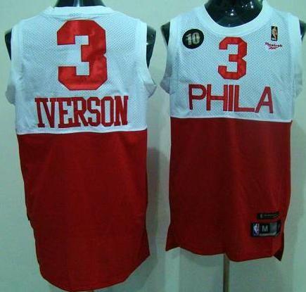 0835f9ff9c8d ... Philadelphia 76ers 3 Allen Iverson White With Red 10th Soul Swingman  Jersey ...