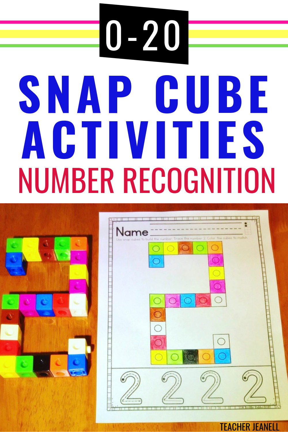 Number Recognition 0 20 Snap Cube Activities Snap Cubes Snap Cubes Activities Kindergarten Math Activities [ 1500 x 1000 Pixel ]