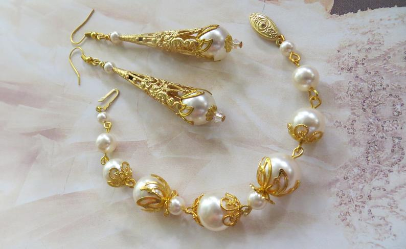 Pearl Drop Earrings and Bracelet Set Antique Gift for Her Ivory Pearl Bracelet and Earrings Ivory Pearl Earrings Gold Jewellery Set