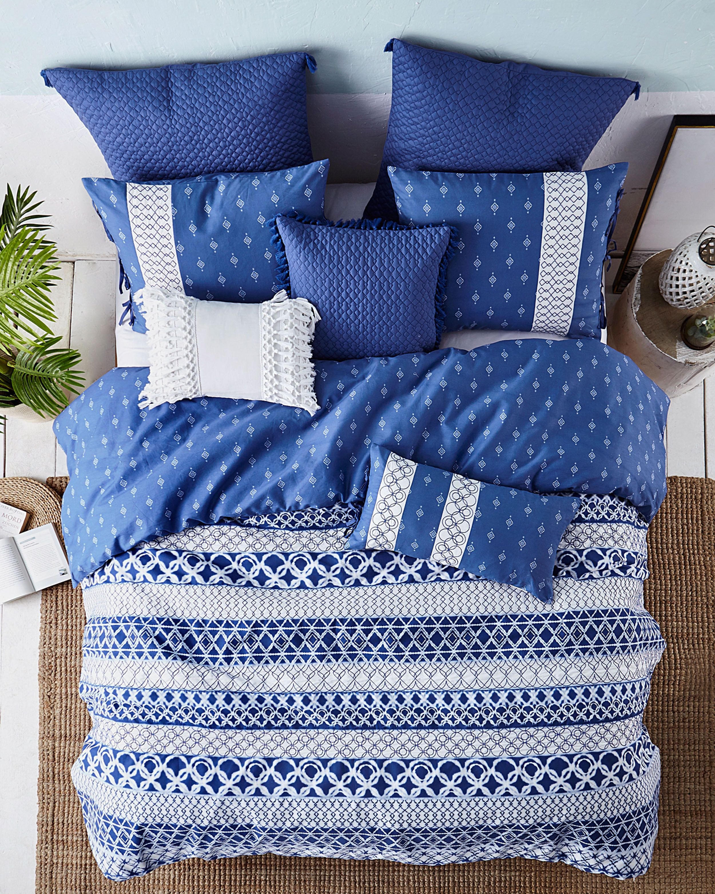 Shibori Stripe Cotton Comforter Set in Blue Cotton