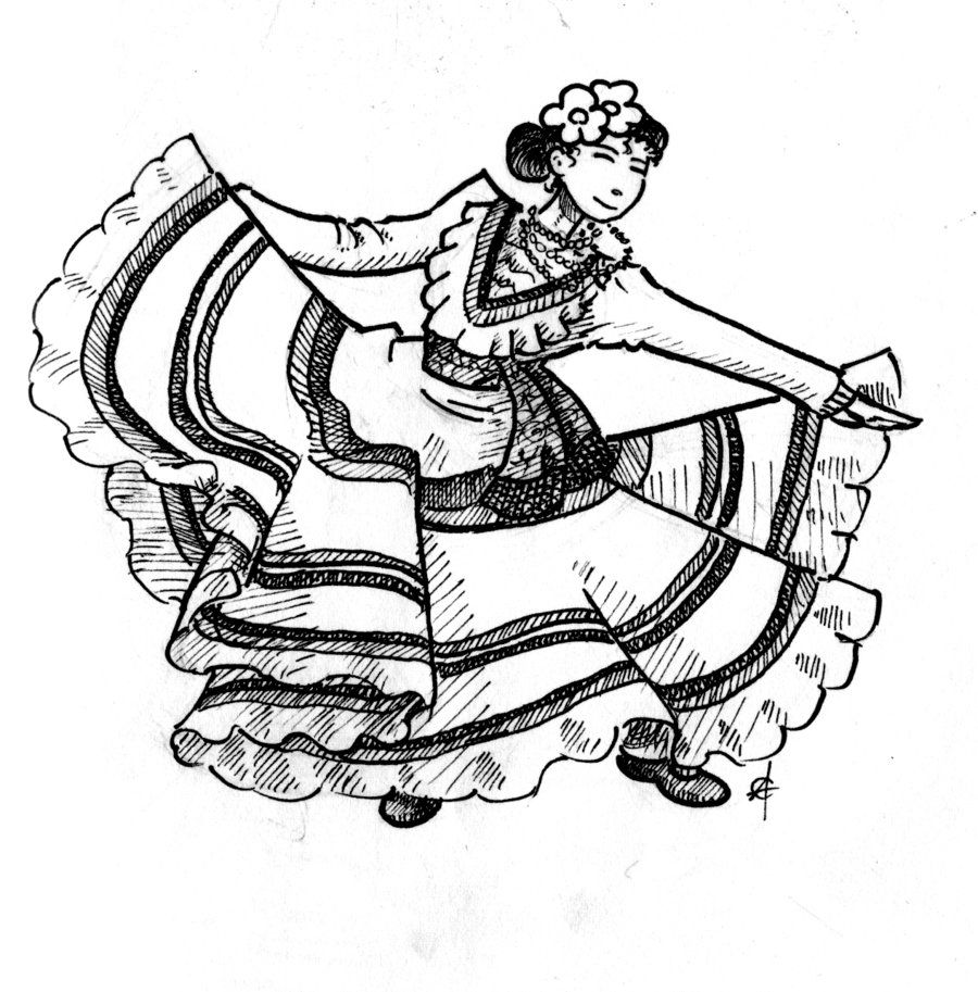 Image Result For Clipart Mexican Dance Coloring Pages Flamenco