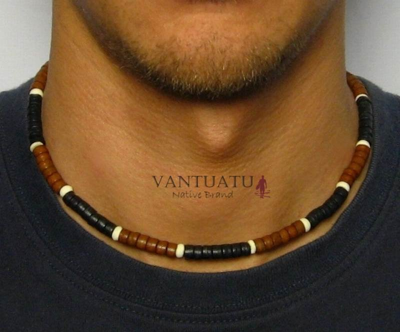 mens necklace .surfer necklace leather choker.Mens Beaded Surfers NECKLACE Beads Man Perfect Gift Sport