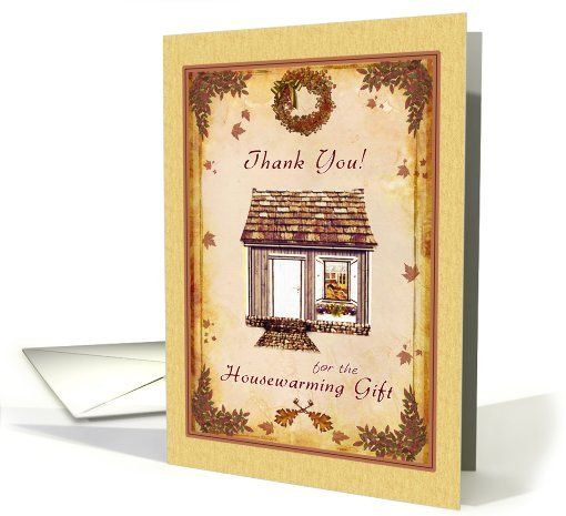 Thank you for Housewarming Gift - Autumn Leaves Home card