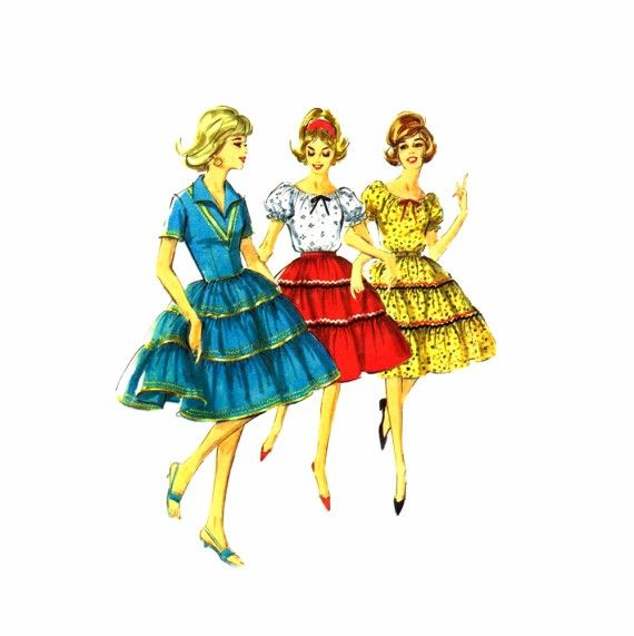1960s Square Dance Dress Blouse Skirt Simplicity 5545 Vintage Sewing Pattern