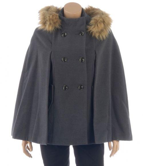 ac8dd450cb8f Cape femme esprit officier capuche imitation fourrure - Vestes et Manteaux  Camaieu - Pret a porter féminin