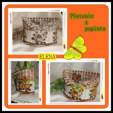 6ab209720 pletenie z papiera košík | pletenie z papiera | Pletenie