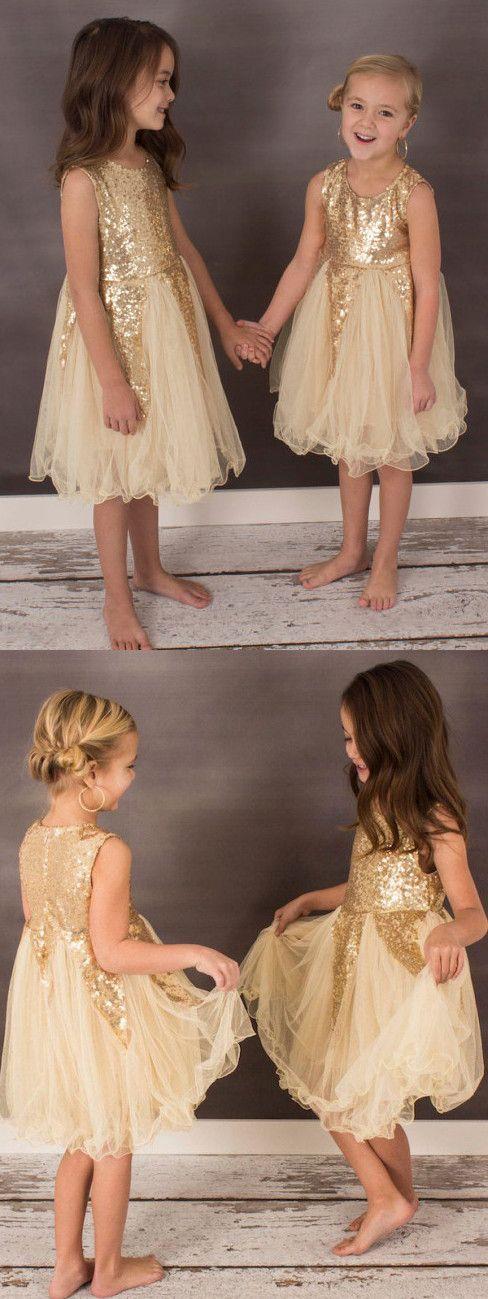 cute short flower girl dress, gold sequins short flower girl dress