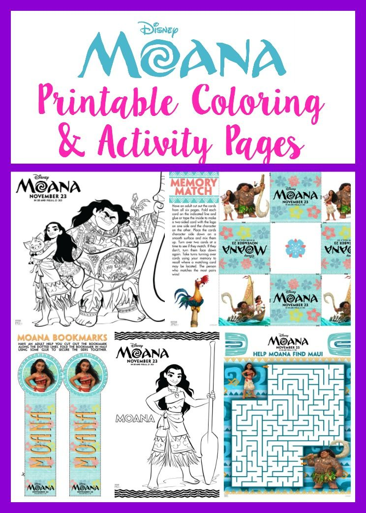 MOANA Printable Coloring & Activity Pages! | Moana, Free ...