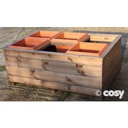 Six projects for children to do in six containers. Before you plant, use for throwing target games & maths.